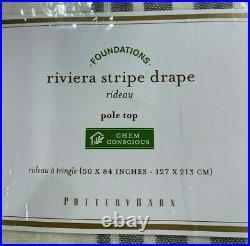 PB Riviera Striped Linen/Cotton Rod Pocket Curtain, 50w x 84l, Charcoal
