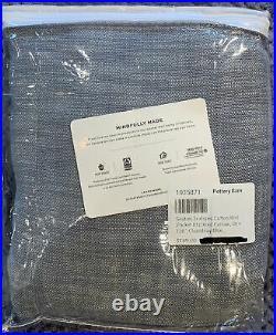 PB Seaton Textured Cotton Rod Pocket Blackout Curtain, 50 x 108, Chambray Blue