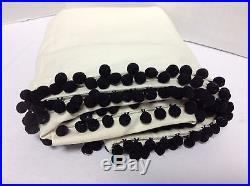 PB Teen Emily Meritt Natural black Pom Pom Drapes Curtains Panels Blackout 44x84