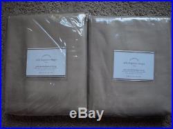 POTTERY BARN 2 Dupioni Silk Pole Pocket Drape Panels 50 x 108 Parchment NEW