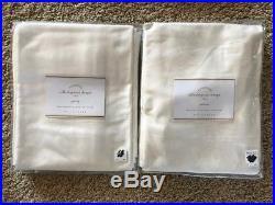POTTERY BARN 2 Dupioni Silk Pole Pocket Drape Panels 50 x 124 IVORY NEW
