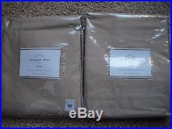 POTTERY BARN 2 Dupioni Silk Pole Pocket Drape Panels 50 x 84 Parchment NEW
