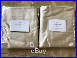 POTTERY BARN 2 Dupioni Silk Pole Pocket Drape Panels 50 x 84 Sahara NEW