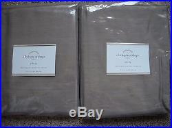 POTTERY BARN 2 Dupioni Silk Pole Pocket Drape Panels 50 x 96 Brownstone NEW