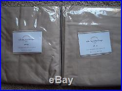 POTTERY BARN 2 Dupioni Silk Pole Pocket Drape Panels 50 x 96 Parchment NEW