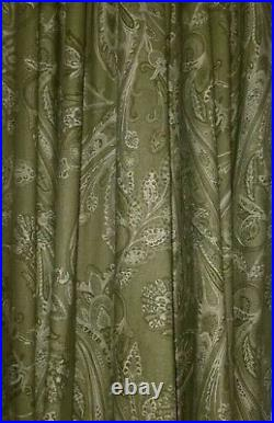 POTTERY BARN 4 Panel Drape Curtains Lined 50W x 96L Sage Green/Ivory Paisley