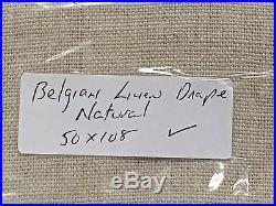 POTTERY BARN Belgian Flax Linen Drape Panel, 50x108, NATURAL, NEW