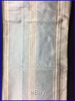 POTTERY BARN COLE SILK STRIPE DRAPE BLUE 50 x 96 NEW DUPIONI CURTAIN TAN CREAM