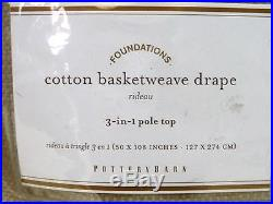 POTTERY BARN Cotton Basketweave 50 x 108 Drapes, SET OF 2, FLAX, NEW