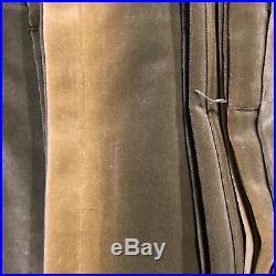 POTTERY BARN Dark Green Olive Velvet Drape Curtain SET/4 52 x 82 Faded