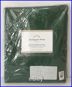 POTTERY BARN Dupioni Silk 50 x 108 BLACKOUT Drape, EMERALD GREEN, NEW