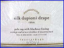 POTTERY BARN Dupioni Silk BLACKOUT 104x108 DOUBLEWIDE Drape, PLATINUM GRAY, NEW