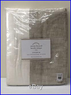 POTTERY BARN Emery Frame Border Linen Drape, FLAX IVORY, 50x84, NEW