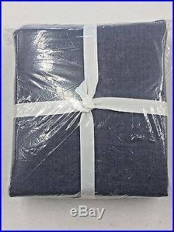 POTTERY BARN Emery Linen/Cotton DOUBLEWIDE Drape Panel, 100 x 96, INK BLUE, NEW