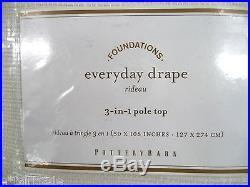 POTTERY BARN Everyday 108 Drapes, SET OF 2, IVORY, NEW