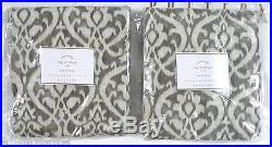 POTTERY BARN Ingrid Ikat 50 x84 Drapes Panels, SET OF 2, GRAY, NEW