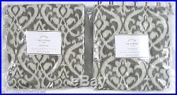 POTTERY BARN Ingrid Ikat 50 x96 Drapes Panels, SET OF 2, GRAY, NEW