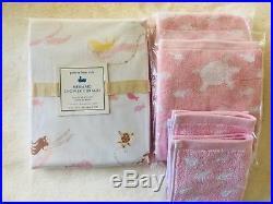 POTTERY BARN KIDS Mermaid Shower Curtain Hand Towels Washcloths Set 5 Pc Pink