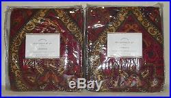 POTTERY BARN Mira Paisley 50 x 108 Drapes, SET OF 2, RED MULTI, NEW