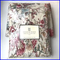 POTTERY BARN PAIR of MARIE FLORAL SMOCKED DRAPES 42 x 84 Blue Pink Botanical NIP