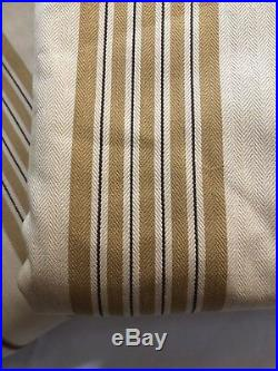 POTTERY BARN Pair Two 84 Curtain Drapes Gold Wheat Brown Stripe NWOT NEW