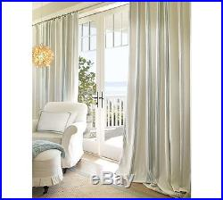POTTERY BARN RIVIERA STRIPE DRAPES Porcelain Blue 2 Panels BLACKOUT 84 NWT