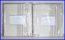 POTTERY BARN Riviera Stripe 50x84 Cotton Lined Drapes, SET OF 2, SANDALWOOD-NEW
