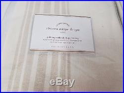 POTTERY BARN Riviera Stripe 50x84 Drape withBLACKOUT Liner-SET/4-SANDALWOOD-NEW