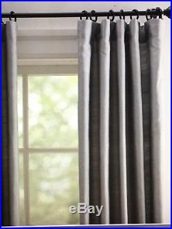POTTERY BARN SILK DUPIONI DRAPE DOUBLEWIDE 104X84 BLACKOUT LINING FLAGSTONE Gray