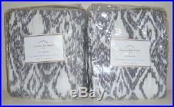 POTTERY BARN Torrens Ikat 50 x 108 Drapes Panels, SET OF 2, CHARCOAL GRAY, NEW
