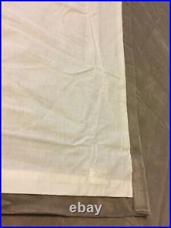 POTTERY BARN VELVET CURTAIN DRAPE PANELS 50x84 SET-2 TAN ROD HOOK LINED