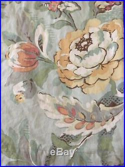 POTTERY BARN Vanessa Floral blue Neutral Linen Drapes Curtains 50x66 Set 2