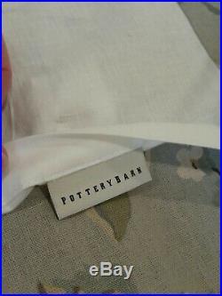 POTTERY BARN Vanessa Floral blue Neutral Linen Drapes Curtains 96 Set 2