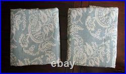 Pair Pottery Barn Alessandra Blackout Drape 2 Curtain Panel Blue Floral 50 x 108