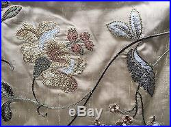 Pottery Barn 100% Silk Embroidered Tan Floral Curtains Quantity 4 50 x 96