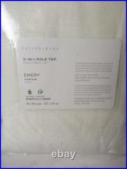 Pottery Barn (1) Emery Linen/Cotton Rod Pocket Curtain 50x96 White Nwt
