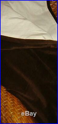 Pottery Barn 1 Espresso Brown Velvet Drape 100 W x 96 L Lined Curtain Drapery