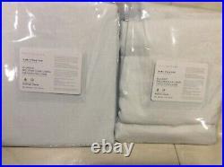 Pottery Barn 2 Classic Belgian Flax Linen Blackout Drapes 50x96 White Curtain
