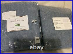 Pottery Barn 2 Classic Belgian Linen Curtains 50X84 Cotton Lining Blue Chambray