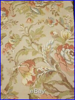 Pottery Barn 2 Curtain Drape Panels 50x84 Coral Tan Vanessa Palampore Floral