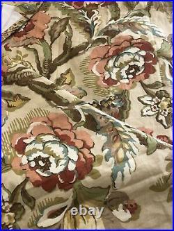 Pottery Barn 2 Curtain Panels 50x96 Coral Tan Vanessa Palampore Floral Bloom