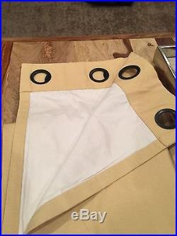 Pottery Barn 2 Drapes Peyton Linen Cotton Blend Butter Color Grommet 50x108 NEW