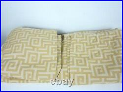 Pottery Barn 2 Lined Curtain Panels Yellow Geometric 50 x 84 each