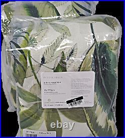 Pottery Barn (2) Palm Print Linen/Cotton Curtain Drapes 50x96 Blackout TWO