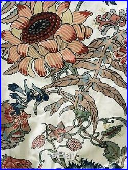 Pottery Barn 2 Panels 50 x 84 Lined Curtains Drapes Red Blue Yellow Floral