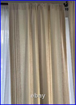 Pottery Barn 2 Riviera Stripe Curtain Drape Panels 50x84 Sandalwood Tan Pair