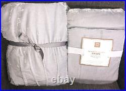 Pottery Barn 2 Shimmer Velvet Drape Curtains Gray 44 x 108 Tie Top