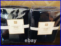 Pottery Barn 2 Shimmer Velvet Drape Curtains Navy Matches Harry Potter Bedding
