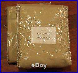 Pottery Barn 2 Silk Dupioni Drapes 50 x 108 Parchment with Blackout Lining NEW