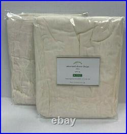 Pottery Barn 2 Smocked Organic Cotton Rod Pocket Sheer Curtains 42 x 84 Ivory